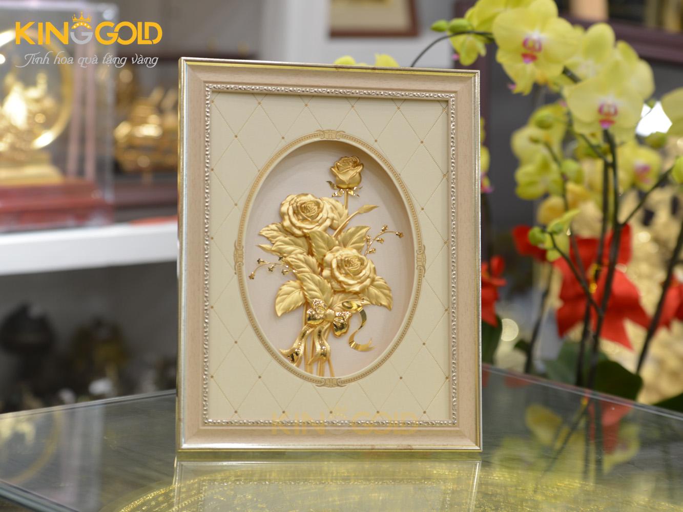 Tranh hoa hồng dát vàng 24k- quà tặng vợ, quà tặng bạn gái0
