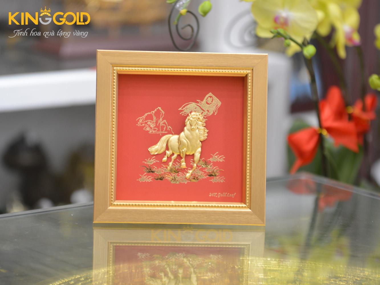 Tranh ngựa vàng 24k mã đáo thành công làm quà Tết Canh Tý 20200