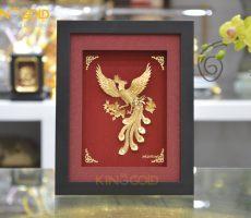Quà tặng tranh chim phượng hoàng tung cánh bằng vàng lá 24k