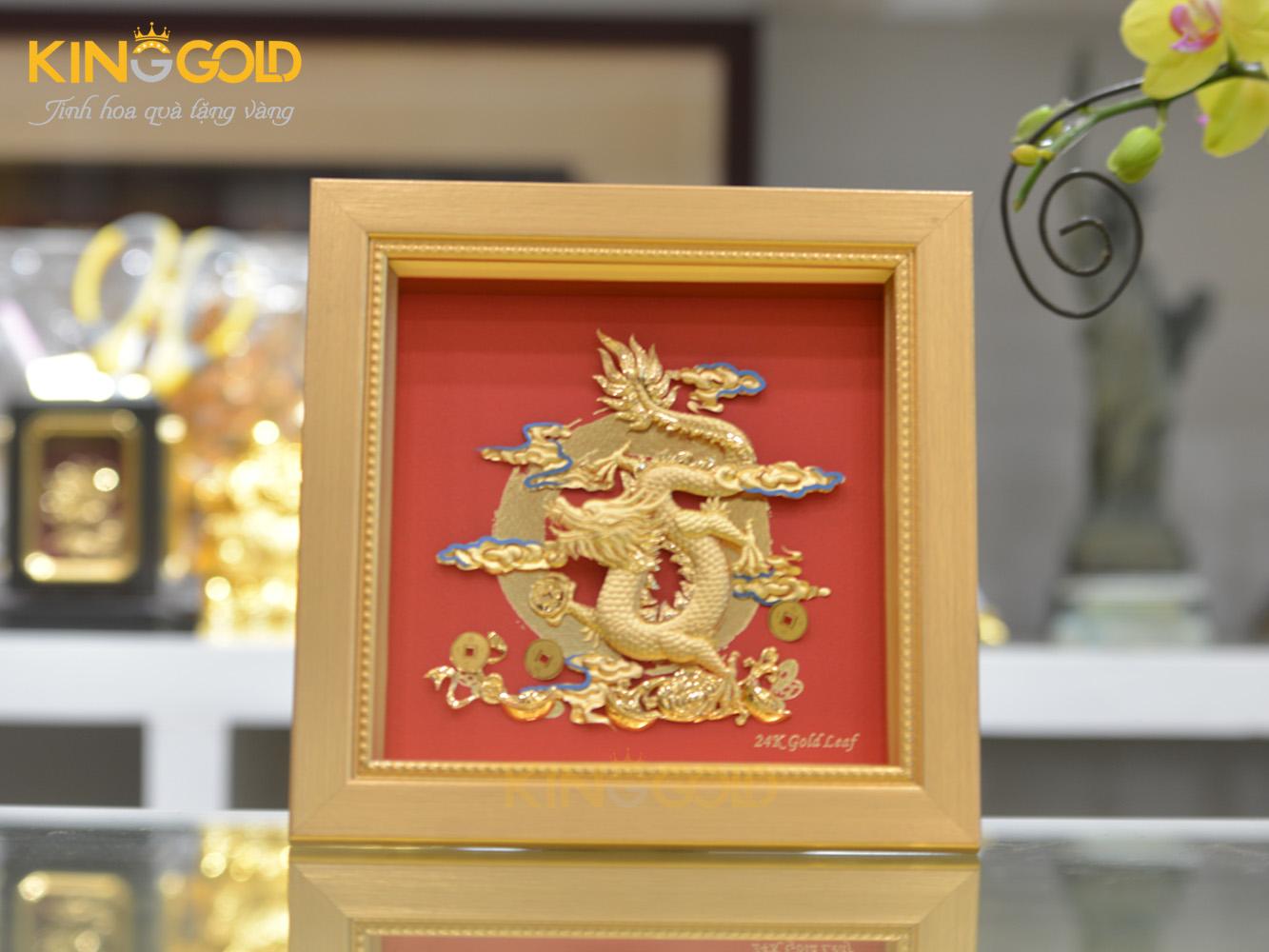 Tranh rồng mạ vàng đẹp tinh xảo- quà tặng cao cấp Tết Canh Tý 20200