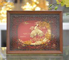 Bức tranh tùng hạc diên niên vàng 24k đẹp tinh xảo