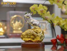 Tượng Chuột Bằng Đồng Dát Bạc Dát Vàng 24k