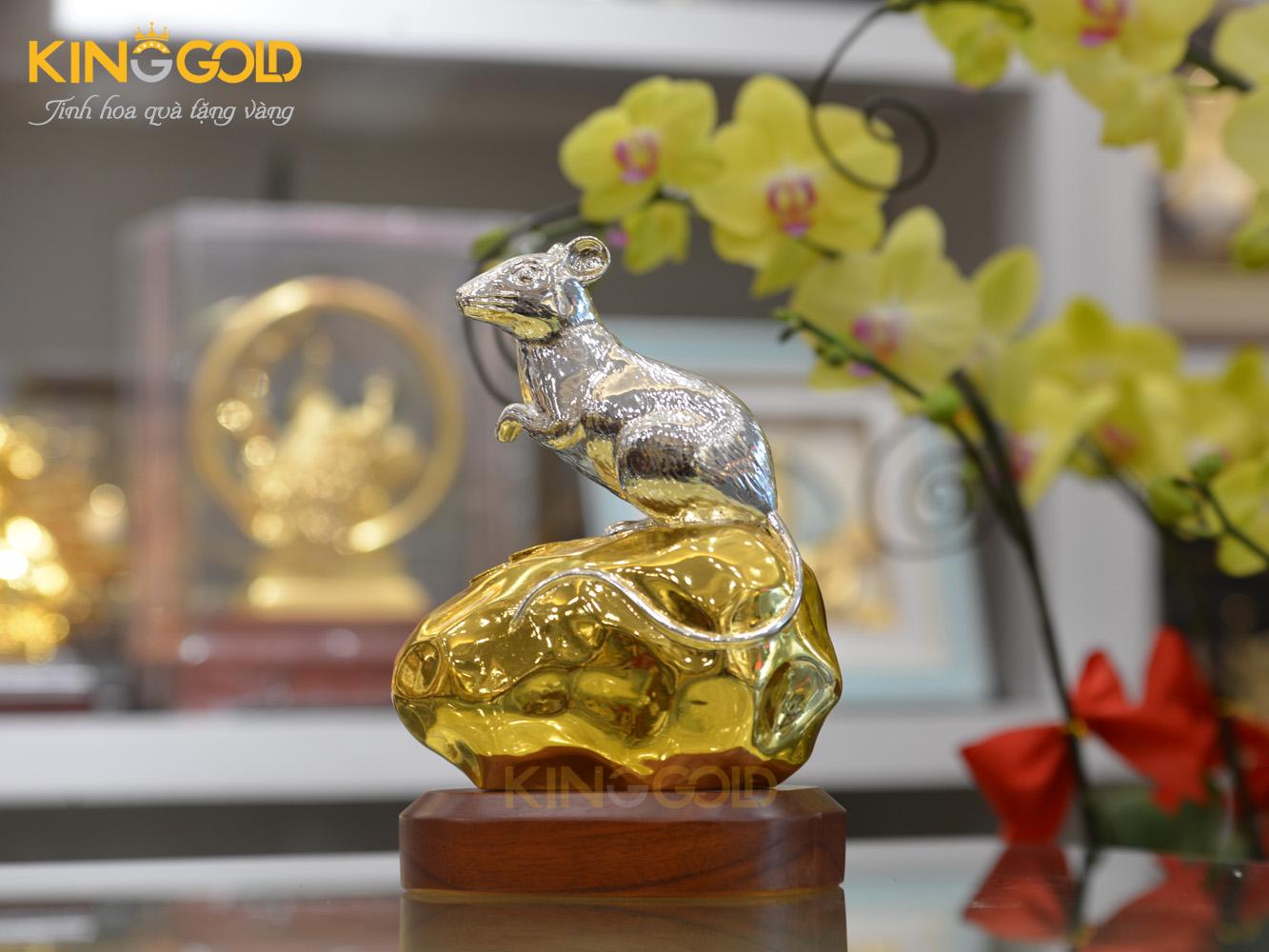 Tượng Chuột Bằng Đồng Dát Bạc Dát Vàng 24k0