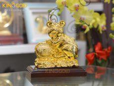Tượng linh phong thủy- tượng chuột mạ vàng 24k bên gậy như ý