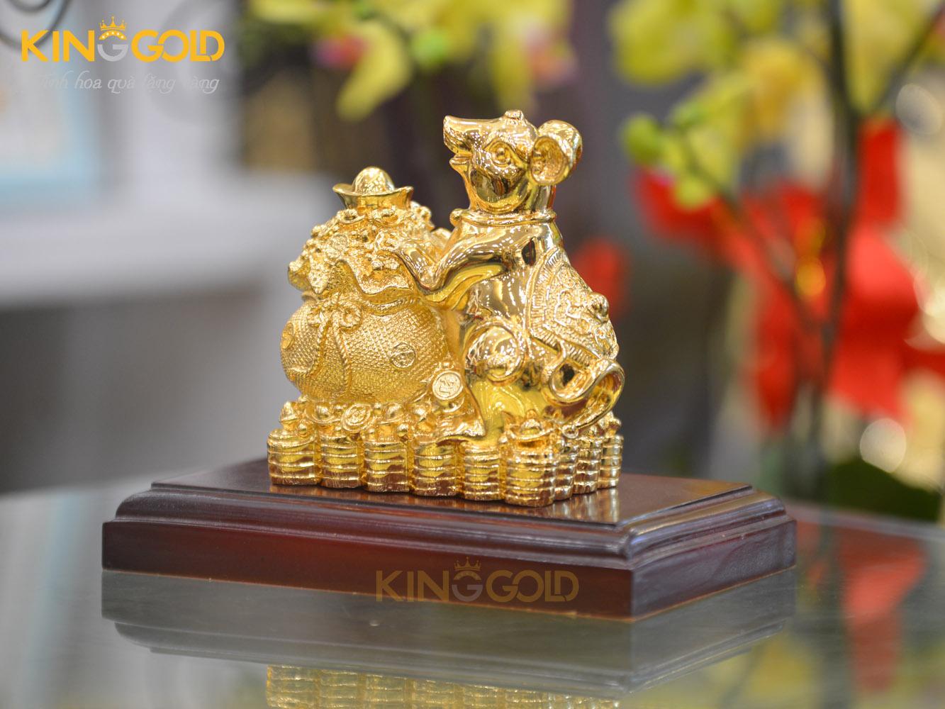 Tượng chuột ôm bao tiền mạ vàng 24k cao cấp0