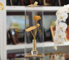 Bônghoa sen đúc đồng mạ vàng đẹp tinh xảo