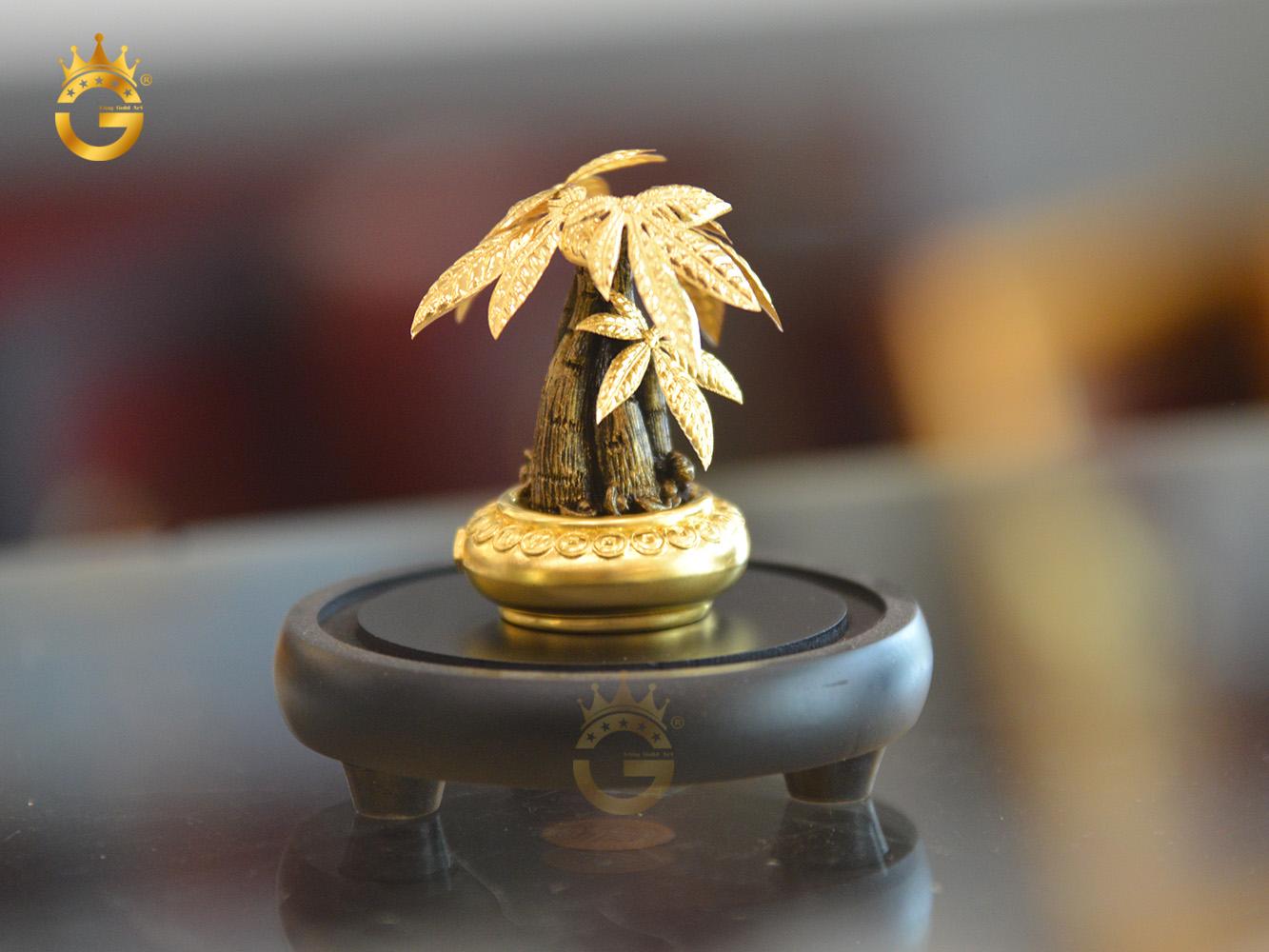 Quà tặng chậu cây kim ngân vàng 24k- quà tặng để bàn làm việc sếp0
