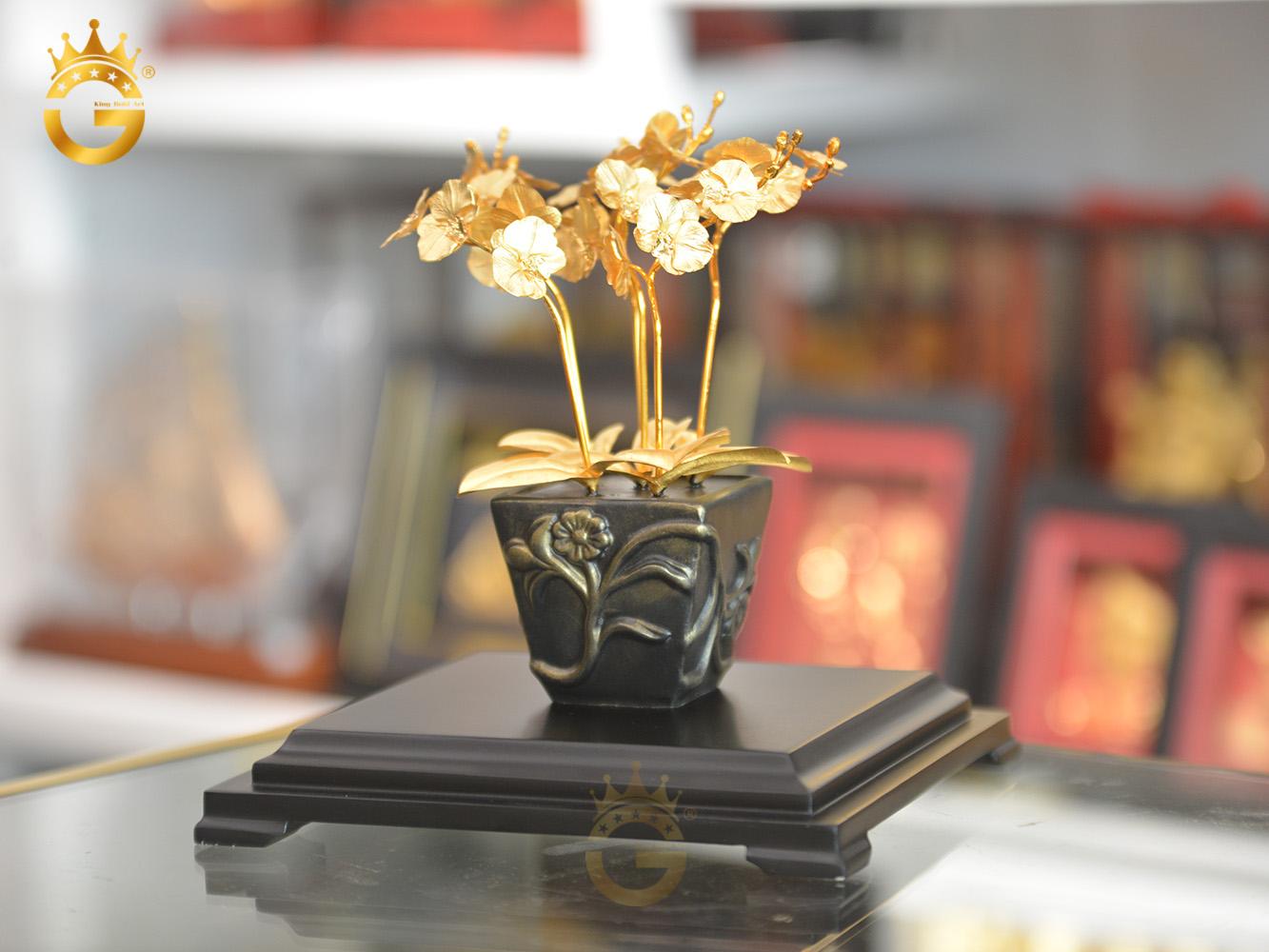 Chậu hoa lan mạ vàng 24k đẹp tinh xảo làm quà tặng sinh nhật mẹ0