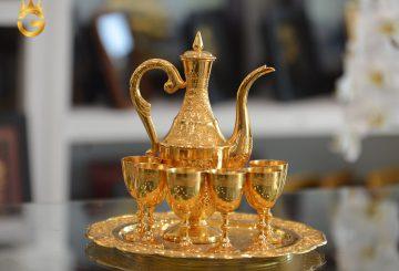 Bộ bình uống rượu mạ vàng 24k làm quà Tết Tân Sửu