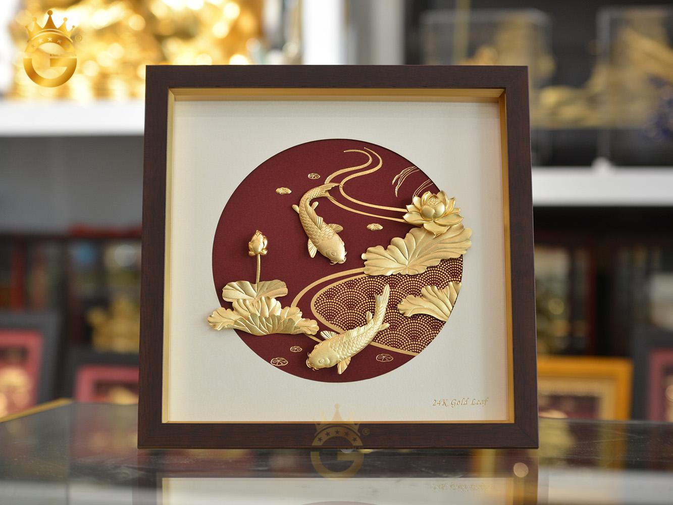 Tranh vàng 24k- tranh cá chép hoa sen dát vàng 24k0