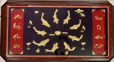 Tranh cửu ngư quần hội mạ vàng, tranh vàng cá chép hoa sen