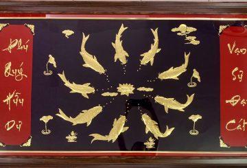 Tranh phong thủy,phong thủy phòng khách,tranh cửu ngư, 9 cá chép vàng