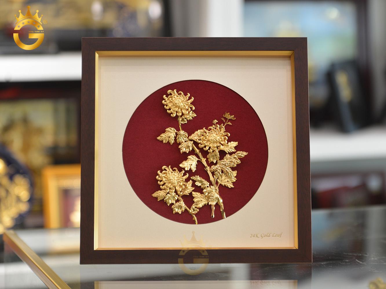 Quà Tặng Tranh Vàng 24k Hoa Cúc Bằng Vàng Lá 24k0