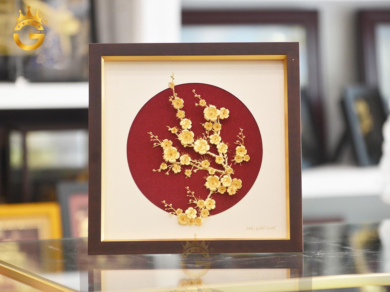Tranh hoa mai vàng 24k làm quà tặng Tết Tân Sửu 20210
