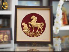 Quà Tặng Tranh Ngựa Tài Lộc Mạ Vàng 24k