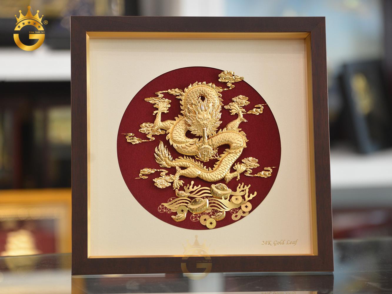 Giá bán tranh rồng phú quý vàng lá 24k đẹp tinh xảo0