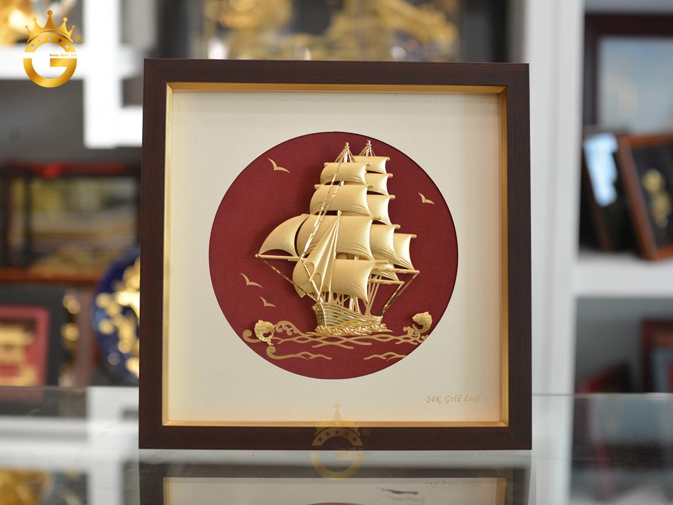 Quà tặng tân gia ý nghĩa- tranh thuyền buồm dát vàng 24k0