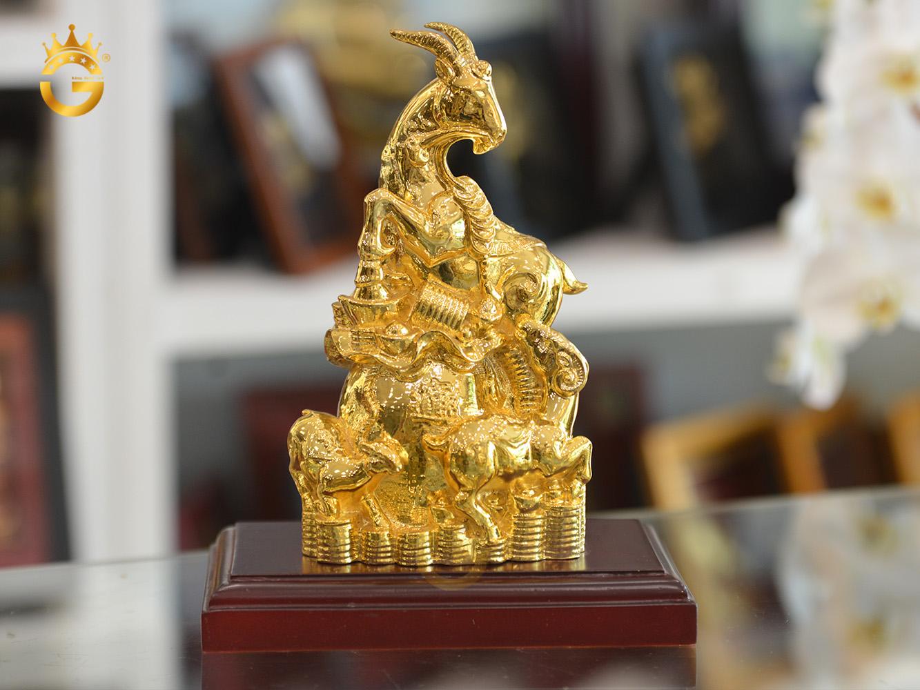 Tượng dê đồng mạ vàng 24k làm quà tặng sếp0