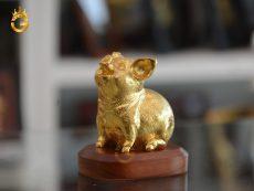 Tượng heo đồng mạ vàng 24k- linh vật tuổi Hợi