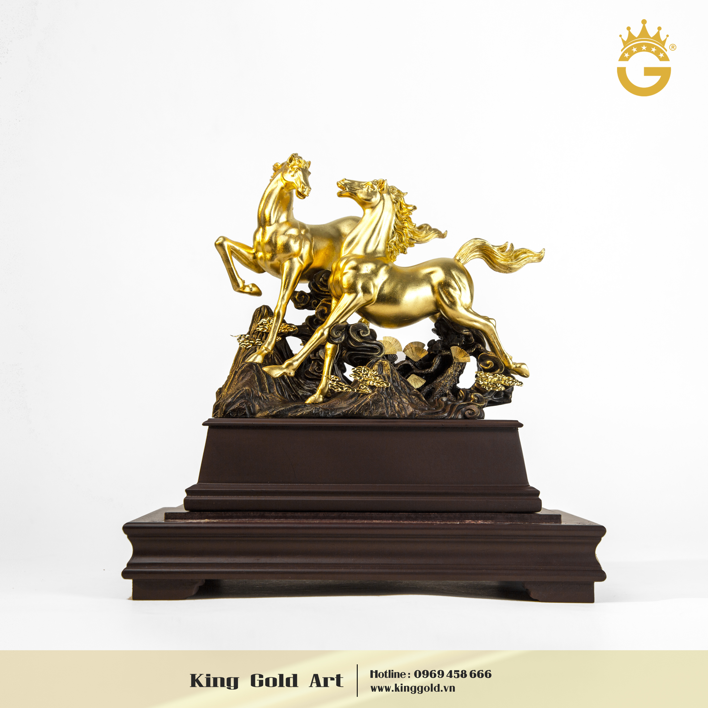 Quà tặng sếp- tượng đồng song mã mạ vàng 24k đẹp tinh xảo0