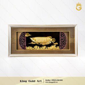 Quà tặng tranh vàng 24k, tranh cá kim long bằng vàng lá đẹp tinh xảo