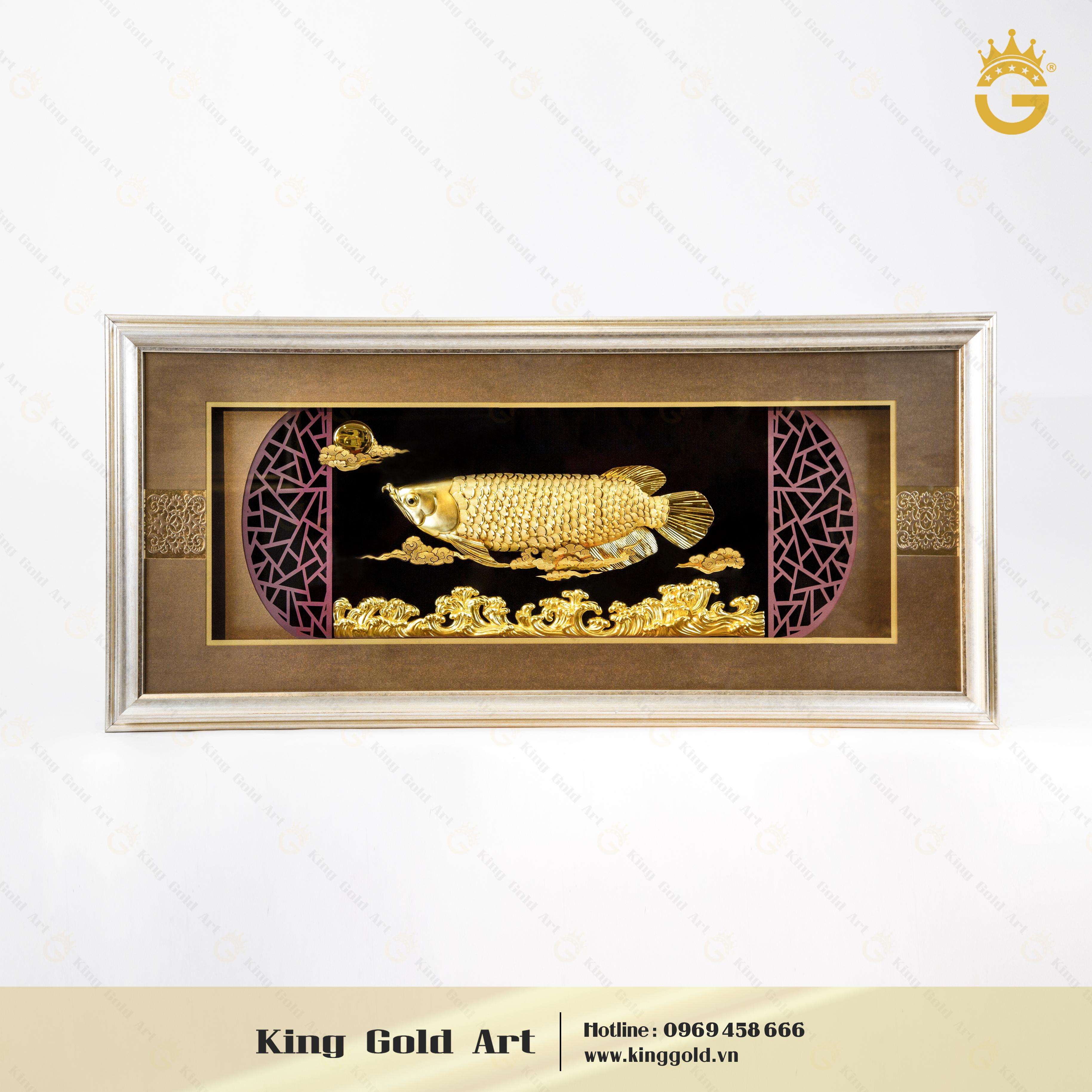 Quà tặng tranh vàng 24k, tranh cá kim long bằng vàng lá đẹp tinh xảo0