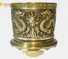 Địa chỉ bán bát hương thờ cúng bằng đồng vàng đường kính 18cm