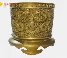 Giá bán bát hương đồng vàng đúc thủ công đường kính 20cm