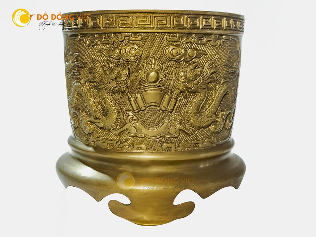 Giá bán bát hương đồng vàng đúc thủ công đường kính 20cm0