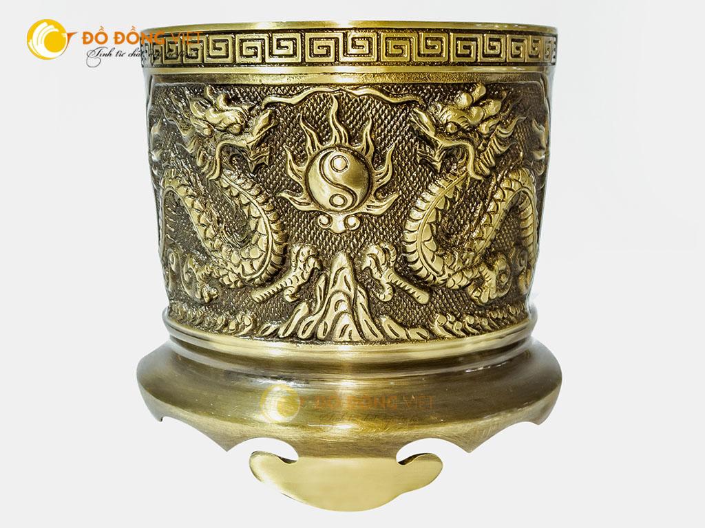 Địa chỉ bán bát hương thờ cúng bằng đồng vàng đường kính 18cm0