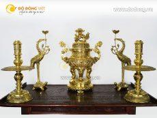 Bộ đồ thờ Bình An, đỉnh đồng vàng ngũ sự cao 60cm