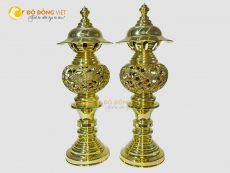 Đôi đèn thờ rồng phượng bằng đồng vàng đúc truyền thống