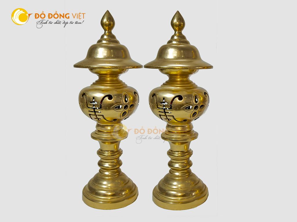 Đôi đèn thờ bằng đồng đỏ nguyên chất cao 60cm0