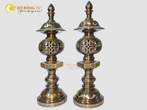 Đôi đèn điện bằng đồng khảm ngũ sắc cao cấp cao 38cm