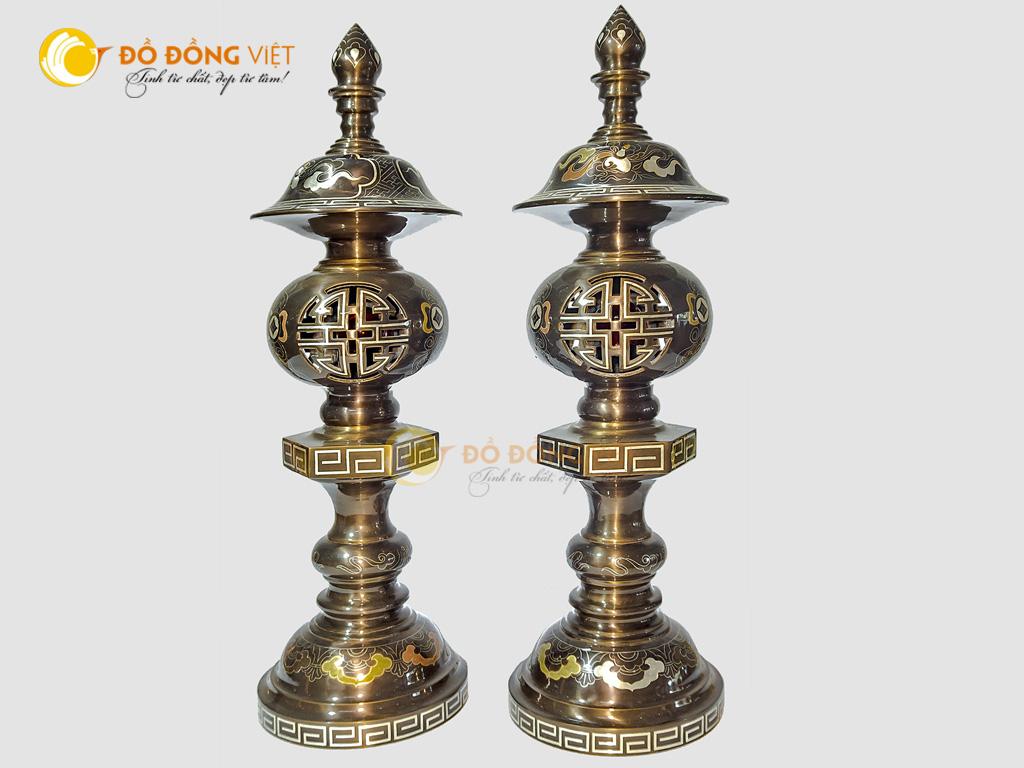 Đôi đèn điện bằng đồng khảm ngũ sắc cao cấp cao 38cm0