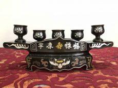 Bộ ngai 3 chén bằng đồng khảm ngũ sắc đẹp tinh xảo