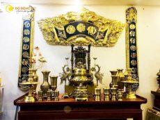 Giá bán bộ đỉnh đồng thờ cúng, bộ ngũ sự đồng vàng chạm sòi