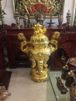 Đỉnh đồng thờ cúng mạ vàng đẹp tinh xảo