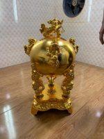 Đỉnh đồng tròn thất lân vờn cầu mạ vàng 90 cm