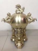 Đỉnh đồng thờ cúng thất lân vần cầu bằng đồng vàng