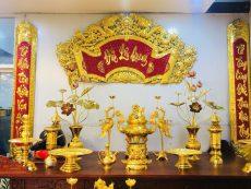 Bộ đỉnh thờ cúng đầy đủ song long chầu nguyệt mạ vàng 24k