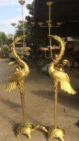 Đồ đồng Việt chế tác đôi hạc chầu bằng đồng vàng nguyên chất