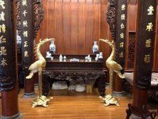 Báo giá đôi hạc đồng thờ cúng cỡ lớn bằng đồng vàng