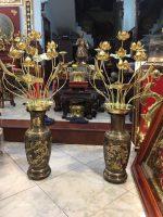 Đôi lọ hoa sen đồng cao 75cm, giá bán hoa sen đồng thờ cúng