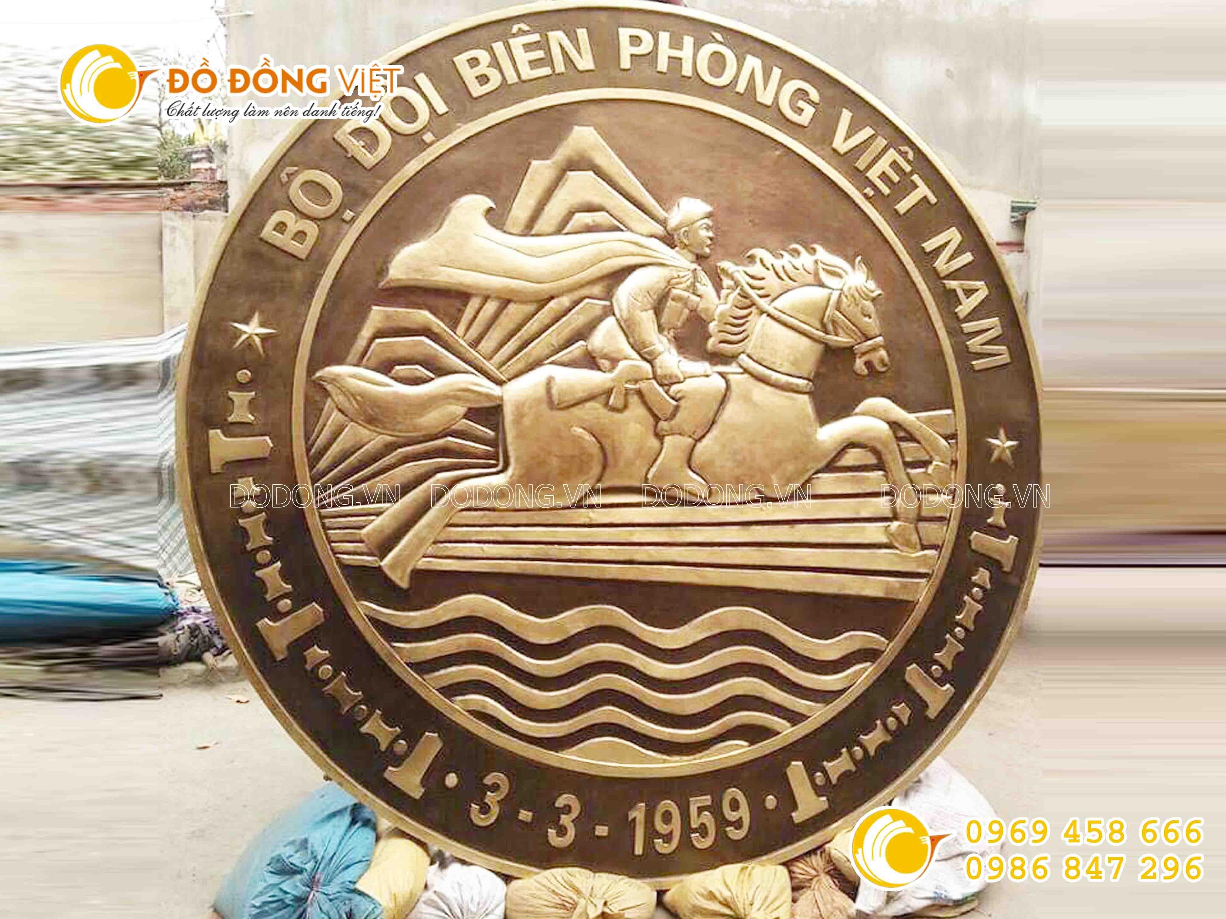 Đồ đồng Việt đúc logo đồng, logo bộ đội Biên Phòng bằng đồng0