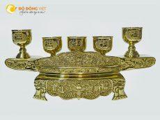 Bộ ngai chén thờ cúng bằng đồng vàng họa tiết tinh xảo