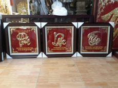 Bộ tranh chữ đồng Phúc Lộc Thọ mạ vàng làm quà mừng thọ