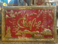 Quà tặng tranh đồng mừng thọ, tranh chữ Cha Mẹ đồng vàng nền đỏ