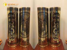 Ống đạn pháo mỹ nghệ chạm tranh tứ quý và mặt trống đồng