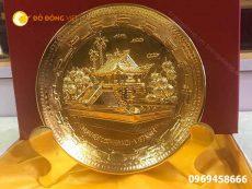 Mặt đĩa quà tặng chùa một cột bằng đồng